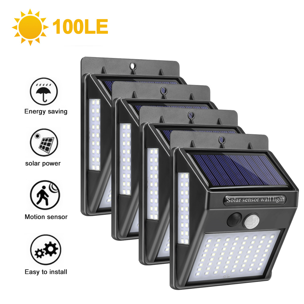New DIDIHOU 100 LED Solar Light Outdoor Solar Lamp PIR Motion Sensor Wall Light Waterproof Solar Powered Sunlight for Garden