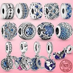 fit Original Pandora bracelet 925 Sterling Silver Sparkling stars Globe Earth Dangle charm Pandora bracelet Silver 925 jewelry