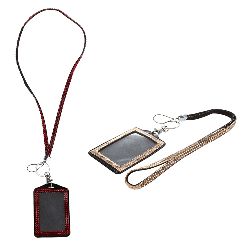 2 Pcs Rhinestone Bling Crystal Custom Lanyard Vertical ID Badge Holder (Champagne & Red)