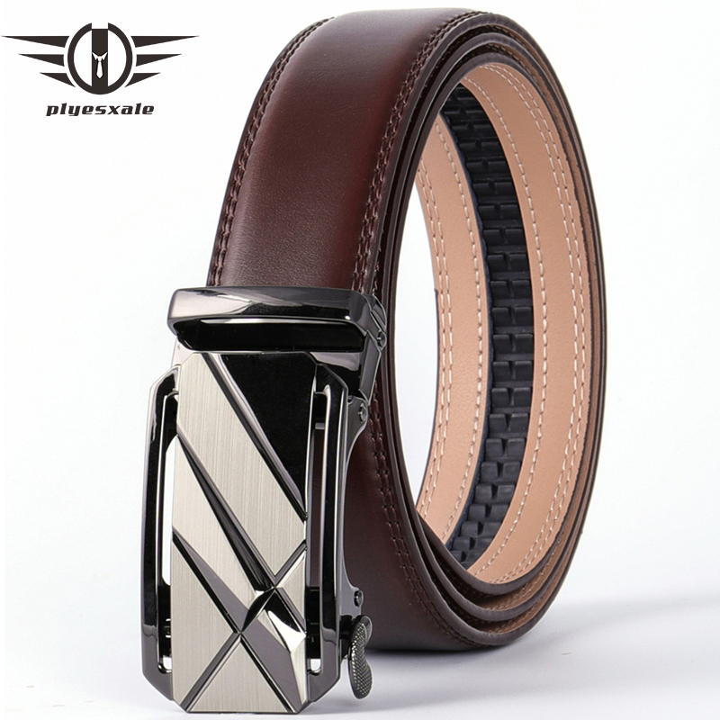 Plyesxale Fashion Designer Men Belts Famous Brand Genuine Leather Male Belt Luxury Black Coffee Automatic Buckle Ceinture B72