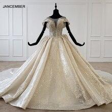 HTL1137 błyszcząca suknia ślubna nakryty rękawem o neck zasznurować gorset suknie ślubne wzburzyć pociąg ins gorąca sprzedaż świecący vestidos novia