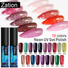 Zation Semi-permanente Nail Gel Polish Langdurige Shining Neon Gel Nagellak Soak Off UV LED Gel Vernis nail Art(China)