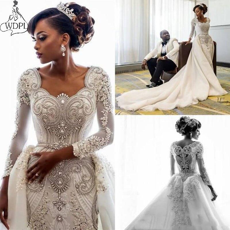2019 Luxury Dubai Arabic Mermaid Wedding Dresses With Long Train Long Sleeves Beaded Pearls Bridal Gowns With Detachable Train Wedding Dress Vestido De Novia