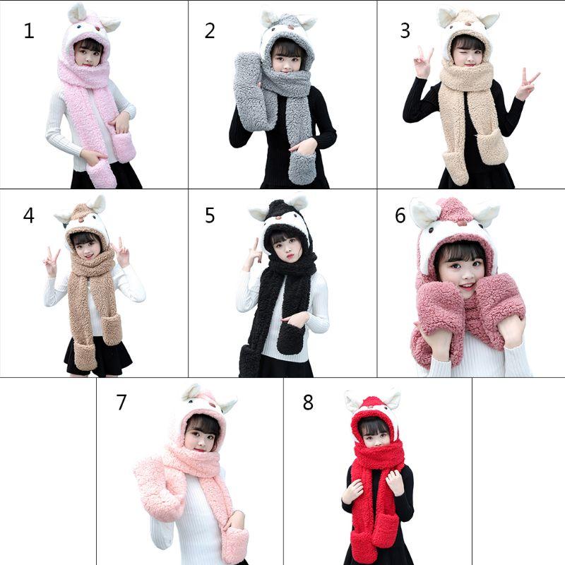 Kids Cartoon Scarf Hat Gloves Fashion 3 In 1 Cap Animal Pattern Hoodie Earflap NEW