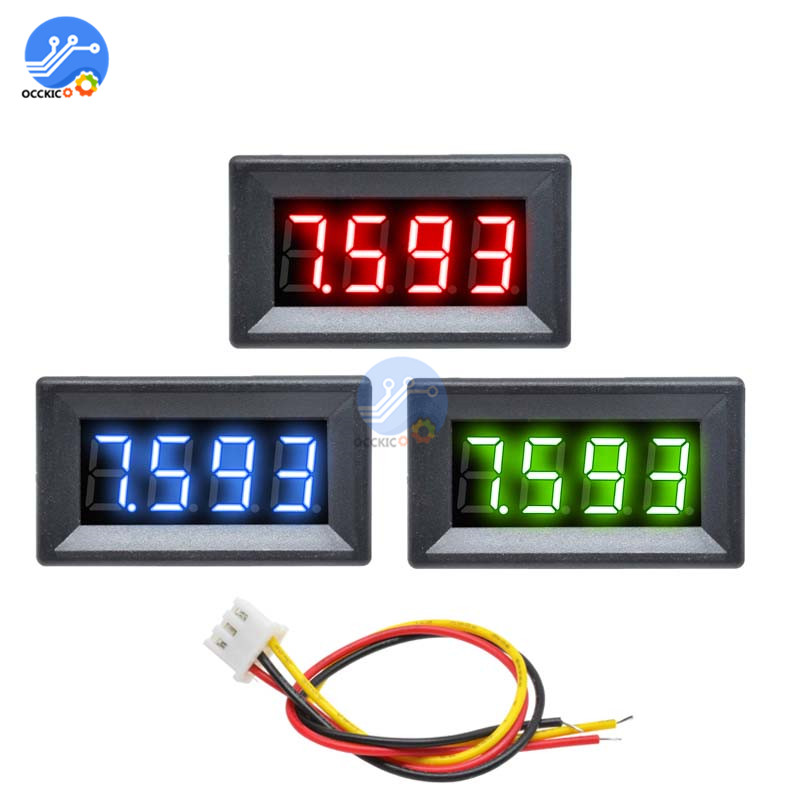 <font><b>0.36</b></font> inch DC 0-100V Voltage Meter 4-Digital High Precision Voltmeter 3 Wire Red Green Blue <font><b>LED</b></font> Display Voltage Meter Monitor image