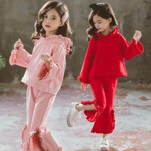 Комплекты одежды для девочек, детская одежда, хлопковый комплект из топа с капюшоном и брюк, милый наряд принцессы с оборками, одежда для мал...