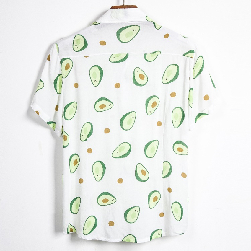 Fluorescent Color Men Shirt Summer High Quality Breathable Hawaiian Shirt Camisa Masculina Avocado Casual Male Printed Plus Size 5