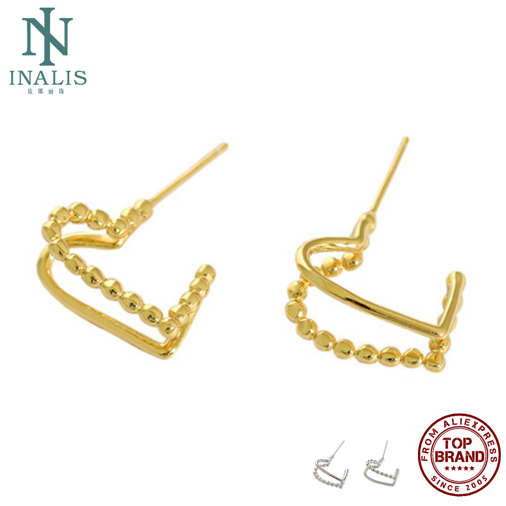 INALIS S925 Sterling Silver Stud Earring For Women Korean Double Deck Heart Earring Two Color Simple Temperament Fine Jewelry