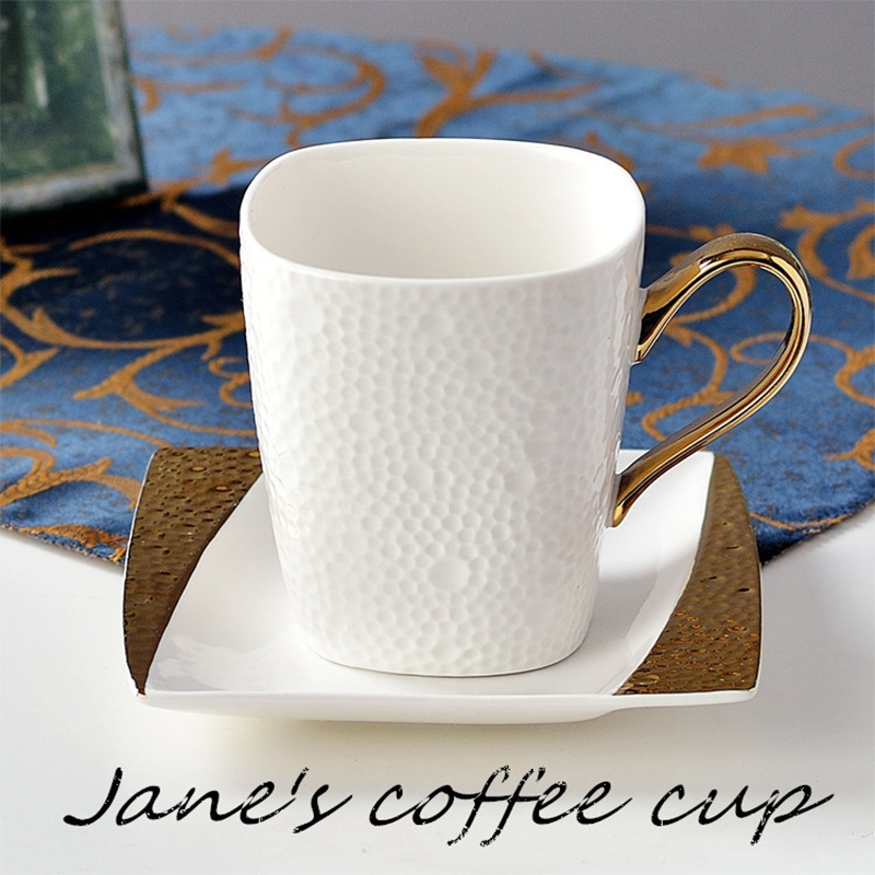 350ml Jane's Coffee Cup Gold-plated Handle Ceramic Porcelain Coffee Cup with Saucer Set
