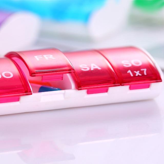1PC pojemnik skrzynka pudełko na pigułki rozgałęźniki 4 kolory 7 dni tygodniowa porcja tabletek Pill apteczka pudełko do przechowywania organizator