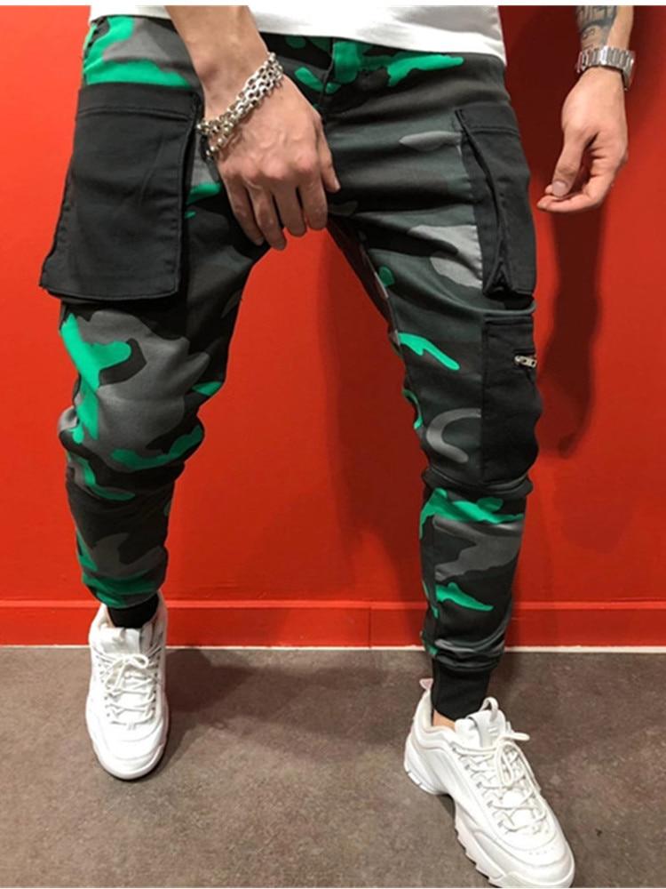 Thin Summer Men Camouflage Casual Pants Patchwork Sweatpants Male Cargo Pants Multi-pocket Sportwear Mens Joggers Pants