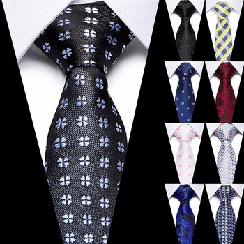 Luxury 7.5cm 100% Silk Men's Tie Floral Blue Red Stripe Ties Men's Fashion Slim Necktie Dress Wedding Party Gift For Mens Ties floral embroidered tie detail stripe dress