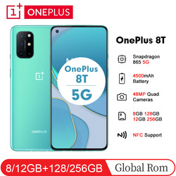 OnePlus 8T 8 T 6.55'' 5G 8/12GB 128/256GB Snapdragon 865 Smartphone AMOLED Fluid Screen 48MP 4500mAh 65W Warp NFC Mobile Phone