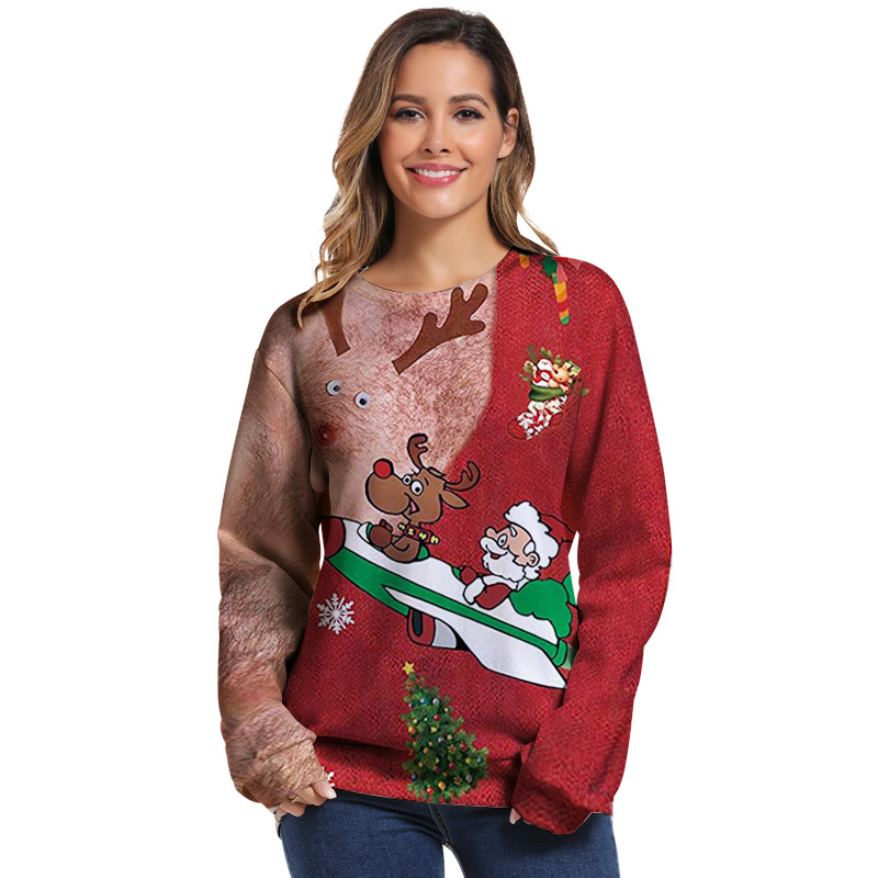 Ugly Christmas Sweater Santa Claus Print Loose Hoodie Men Women Pullover Christmas Novelty Autumn Winter Top Clothing