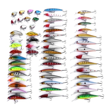 Hot Promotion 56Pcs/Set Mixed Models Fishing Lures Minnow Lure Lifelike Artificial Crank Baits Tackle Treble Hooks Kit