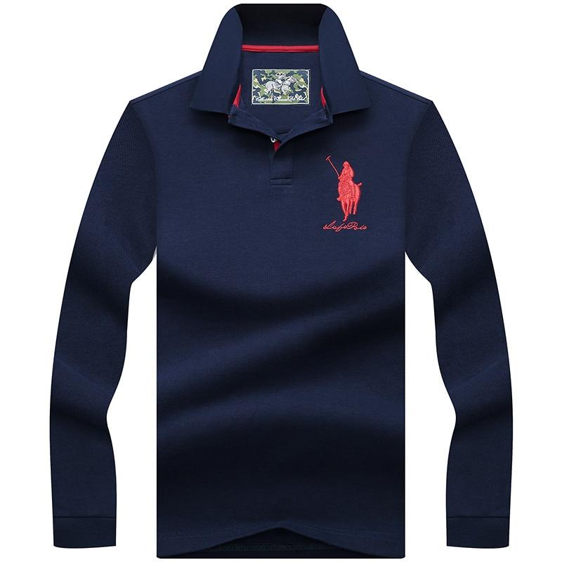 2019 Hot Sale men's long sleeve   polo   shirt cotton breathable 3D embroidery fashion & casual Tace & Shark camisa   polo   shirt men