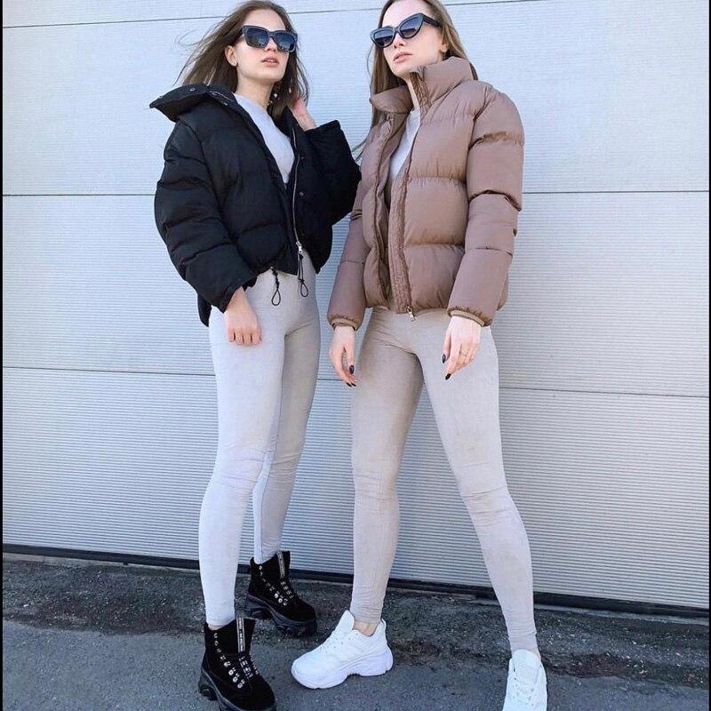 FORERUN Fashion Bubble Coat Solid Standard Collar Oversized Short Jacket Winter Autumn Female Puffer Jacket Parkas