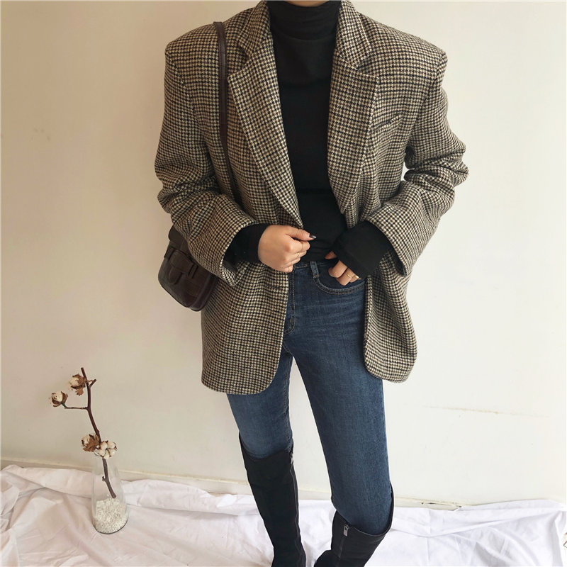 HziriP Retro Slender Office Lady Oversize Vintage Houndstooth Woolen Casual 2020 Belt Sashes Femme Fashion Loose Elegant Coat