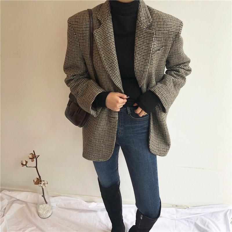 HziriP Retro Slender Office Lady Oversize Vintage Houndstooth Woolen Casual 2020 Belt Sashes Femme Fashion Loose Elegant Coat