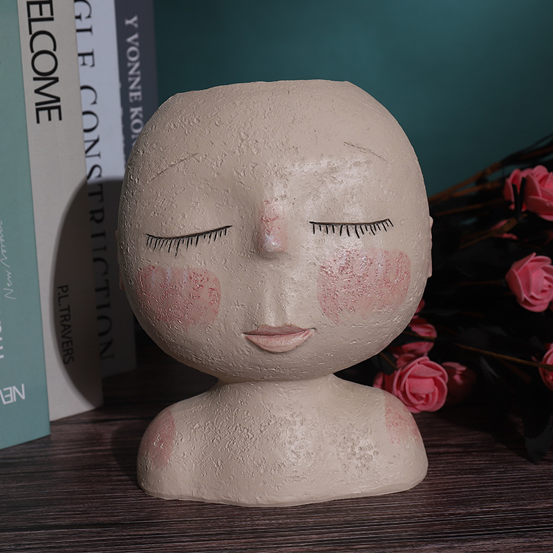 Суккулент кашпо декоративный закрытый открытый голова растение горшок смола маленький цветок горшок ваза креатив лицо статуя кашпо дом