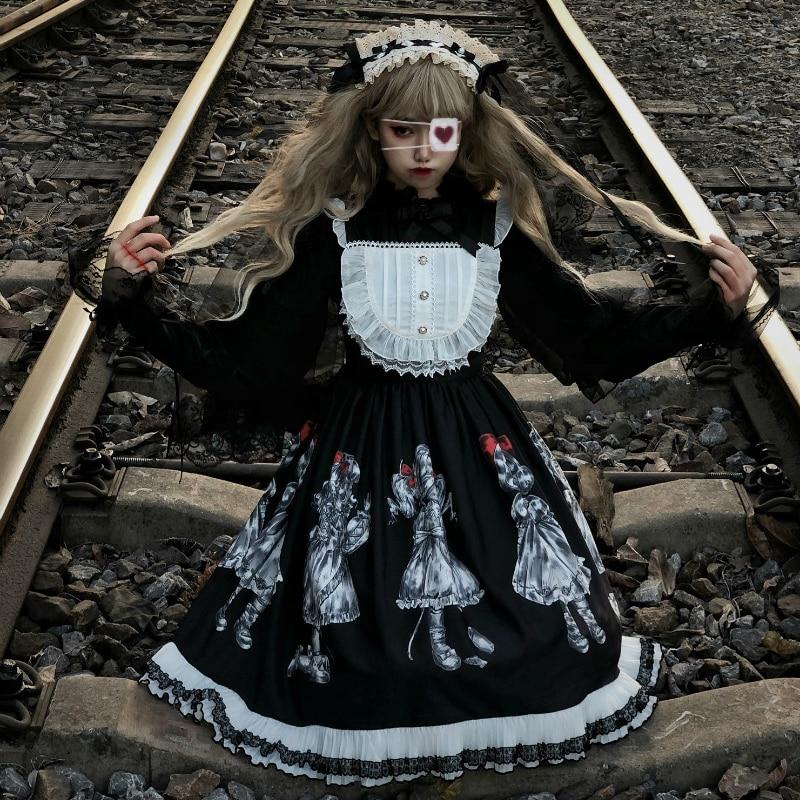 Gothic Lolita Dress Dark Angel Series High Low Lolita JSK Dress By Soufflesong Kawaii Retro Dark Japanese