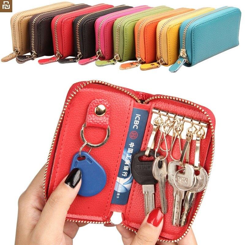 Xiaomi moda deri anahtarlık çok fonksiyonlu fermuar sikke çanta kart sahibinin anahtar Mini çanta