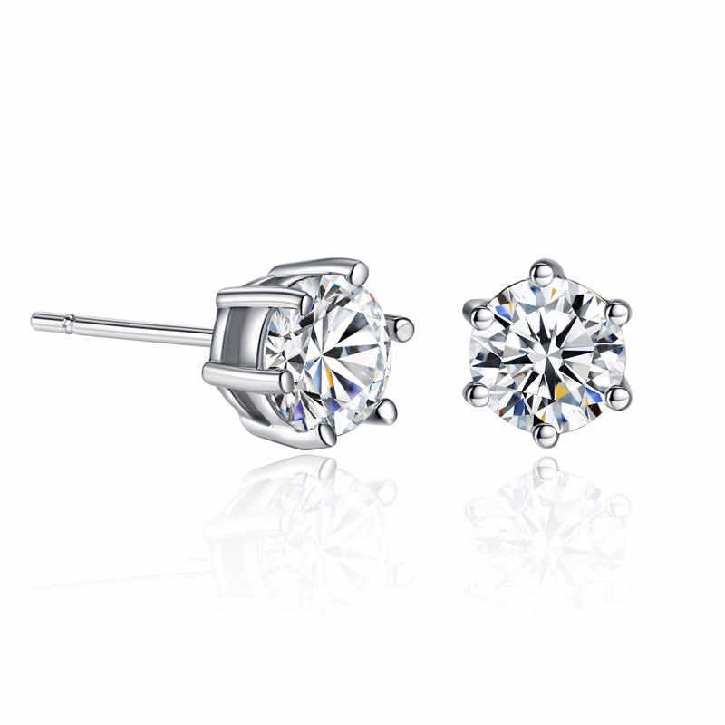 Simples na moda seis-jaw zircon conjunto brincos colar anel de três peças pequeno fresco conjunto de jóias brincos moda jóias