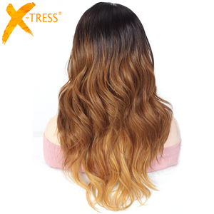 Image 3 - Ombre Brown Blonde Pink Synthetic Lace Front Wigs Long Body Wave Side Part Blue Grey Cosplay Hair Wig X TRESS African Hairpiece