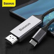 Baseus USB-C compatible con HDMI Cable 4K 60Hz tipo C a HDMI adaptador compatible para Huawei P30 P40 Pro Samsung S20 S10 S9 OnePlus 7