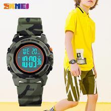 SKMEI 1574 5Bar wodoodporny zegar wojskowy dzieci cyfrowy nadgarstek zegarki Chronograph kalendarz dzieci Sport zegarki dla chłopców dziewcząt tanie tanio Z tworzywa sztucznego Klamra CN (pochodzenie) Żywica 23 5cm Nie pakiet 41mm 1548 ROUND 19mm 12mm Stoper Podświetlenie
