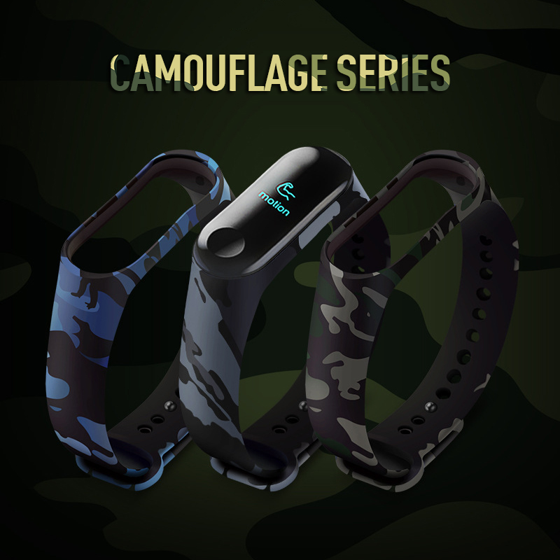 Camouflage Print Bracelet For Xiaomi MI Band 4 Replacement Strap Silicone Wristband For Xiaomi MIBand 4 TPU Bracelet Band