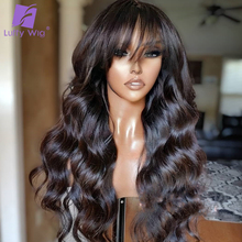 Wigs Bangs Remy-Hair Wavy Glueless Luffy Women Brazilian 200%Density Black with Scalp-Top-Machine