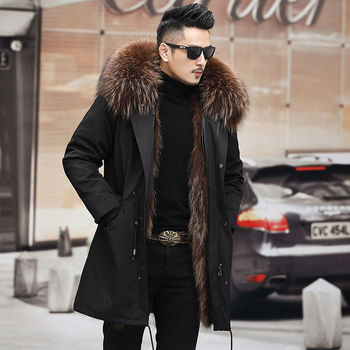 Windbreaker 2021 New Winter Real Fox Fur Coat Long Parka Men Real Rabbit Fur Liner Natural Fur Hooded Thick Warm Male Jacket