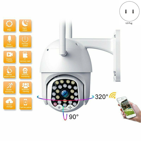 Câmera ao ar Câmeras de Segurança Wifi Livre ip Câmera 1080 p Velocidade Dome Cctv 2mp Visão Noturna ir Casa Vigilância Eua Plug 23 Led Ptz Mod. 1461409