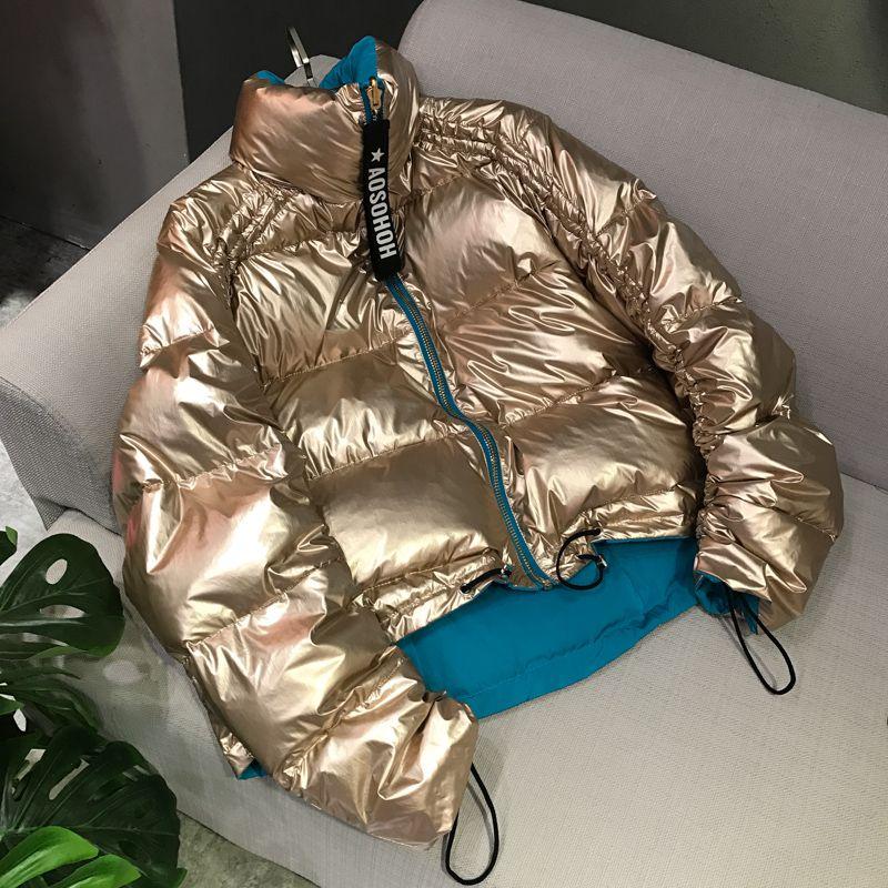 Winter Thicker Warm Double Side Wear Down Coats Female Glossy Fabric High Collar Duck Down Coats Longer Warm Oversize Outerwear