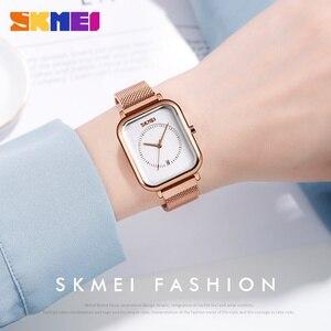 Image 3 - SKMEI reloj de cuarzo para mujer, informal, elegante, de pulsera, resistente al agua, con imán, esfera Rectangular, zegarek damski, 9207