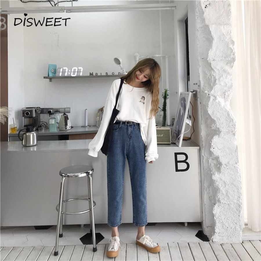 2019 Korean Version of The Simple High Waist Straight Slim Jeans Women's Clothing Retro Casual Nine-point Denim Ladies Trousers