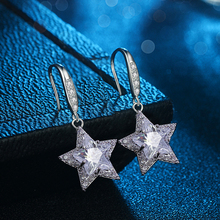 Elegant Classic 925 Sterling Silver Shining Star Drop Earrings for Women Clear Cubic Zircon Sterling Silver Jewelry