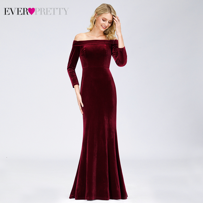 Elegant Burgundy Evening Dress Ever Pretty Off Shoulder Draped 3/4 Sleeve Velour Mermaid Formal Party Gowns Robe De Soiree 2020
