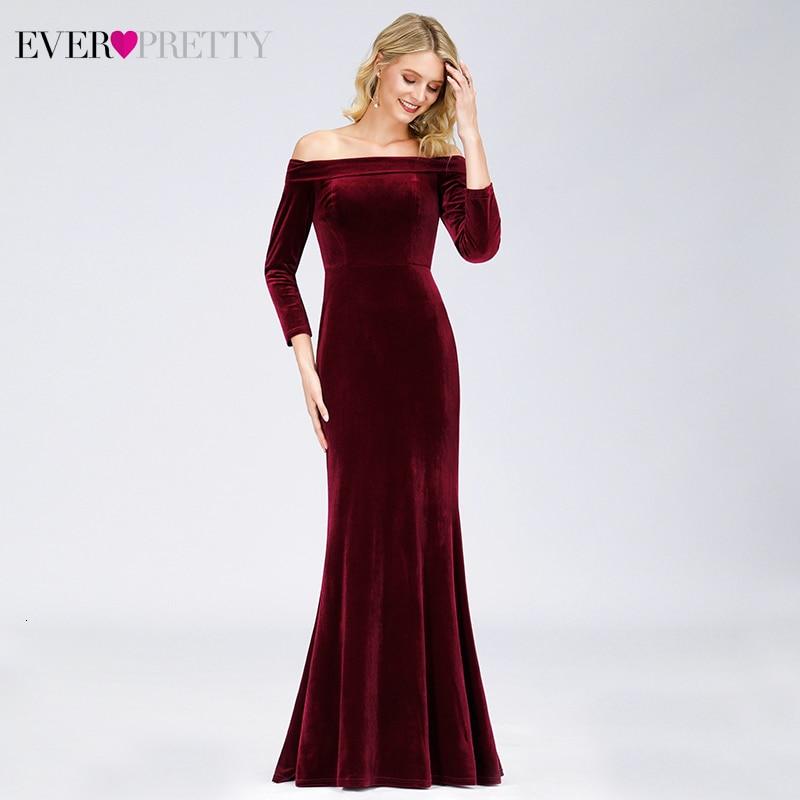 Elegant Burgundy Evening Dress Ever Pretty Off Shoulder Draped 3/4 Sleeve Velour Mermaid Formal Party Gowns Robe De Soiree 2020