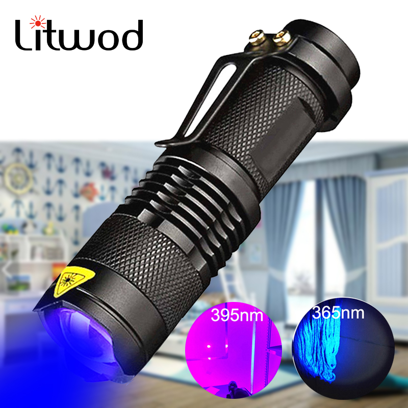 365nm UVC+UVA Flashlight LED Torch Light Waterproof 3 Modes Zoomab Rechargeable Battery Lantern Germicidal Portable Light Bulbs