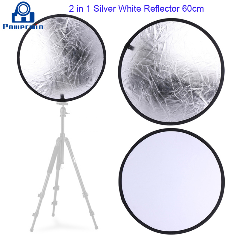 Powerwin 2 in 1 Silver White Reflector 60cm Collapsible Disc Diffuser Softbox Photo Studio Video Lighting Backdrop Light Stand