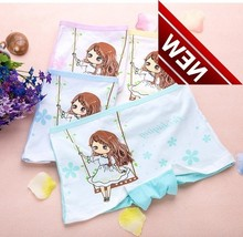 4 Pcs/lot Children Underpants Girl Princess Shorts Pure Cotton Straight Angle Pants Full Student Panties Panty Girls Underwear