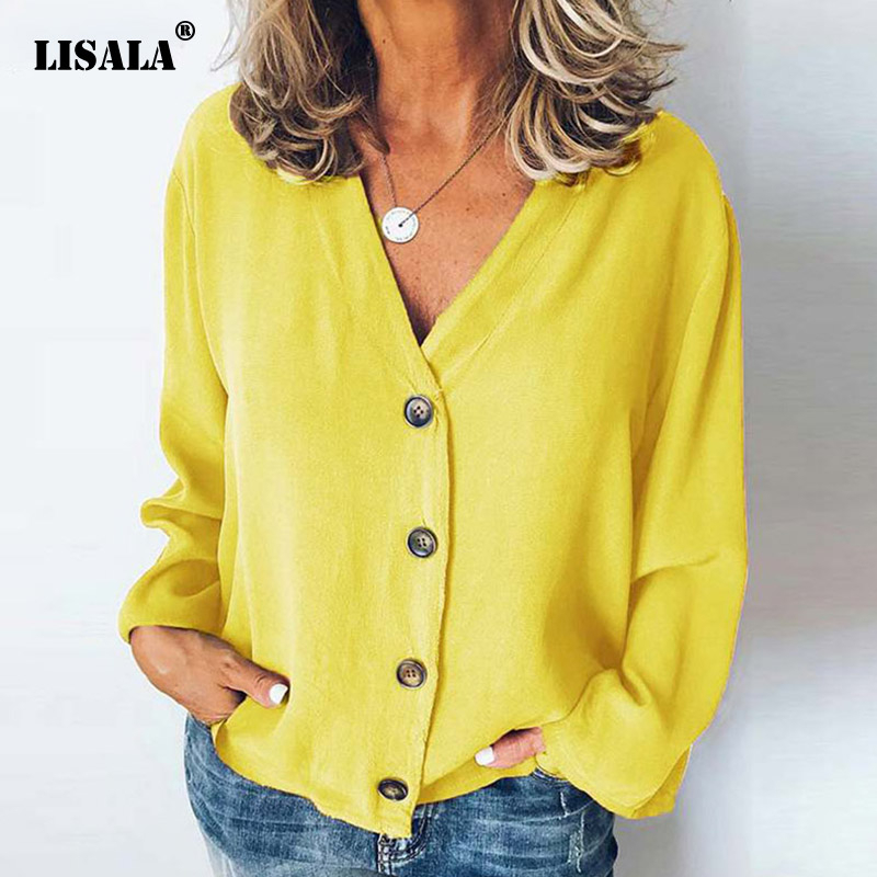 LISALA New Arrival Womens Casual Loose Blouses Shirts Button Design Cardigan Tops V-neck Long Sleeve mujer blusa Plus Size 5XL