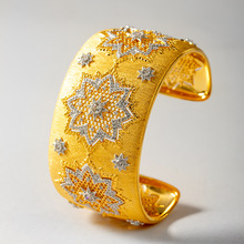 CMajor Sterling Silver Jewelry Gold Color Fashion Flower Bracelets 38mm Width Two Tone Bangle For Women cmajor flower shaped brooch with pearl jewelry silver gold color brooches for women