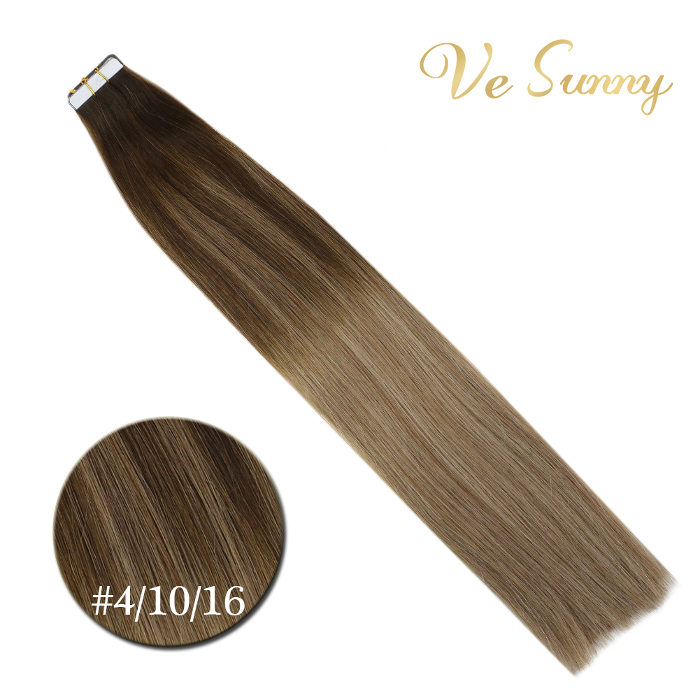 VeSunny Tape In Human Hair Extensions 100% Real Hair Seamless Skin Weft Balayage Brown Mix Dark Blonde #4/10/16  Tape Extension