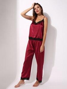 Image 5 - Satin Pyjamas Nachtwäsche Set Cami Top Lange Panty Weiche PJ Set Sexy Nachtwäsche Weiche Homedress