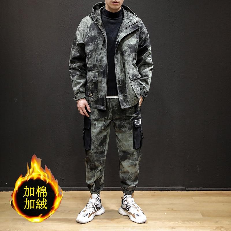 Camouflage Hoodies Men Set Long Sleeve Men Fashion Camouflage Jackets Men Pants Suit Set Tracksuit Sweatsuit Free Shipping Hot