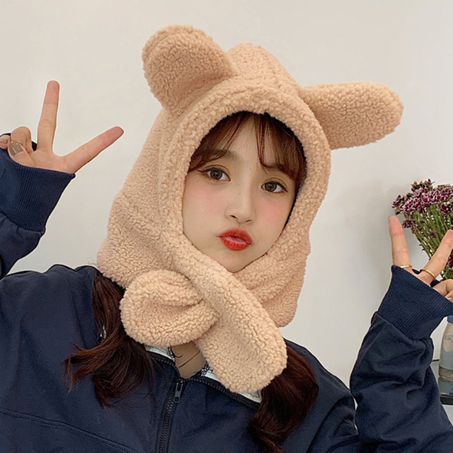 Фото зимний аксессуар милая шапка с шарфом в корейском стиле теплый цена
