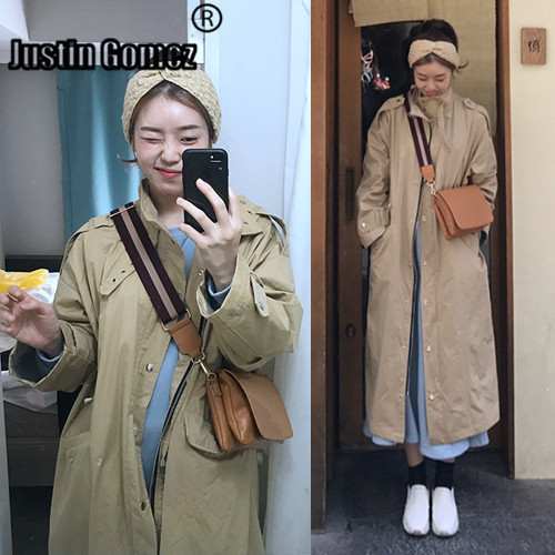 Straight Long   Trench   Coats With Pockets Especially Female Oversized Korean Fashion Blusão Feminino Women Coats Long Windbreaker